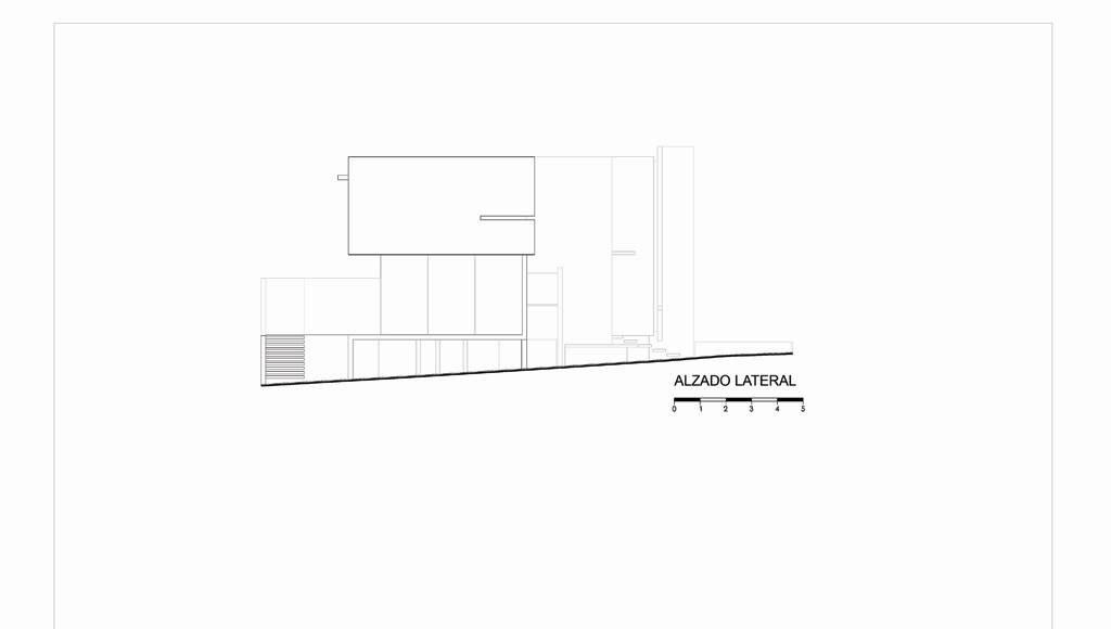 Alzado Lateral Casa X proyecto de Agraz Arquitectos y Elías Rizo : Dibujo © Agraz Arquitectos