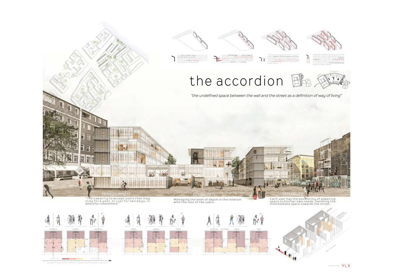 Ganador del Segundo Premio Concurso Berlín University Residences : Lámina © EL SOTERRANI