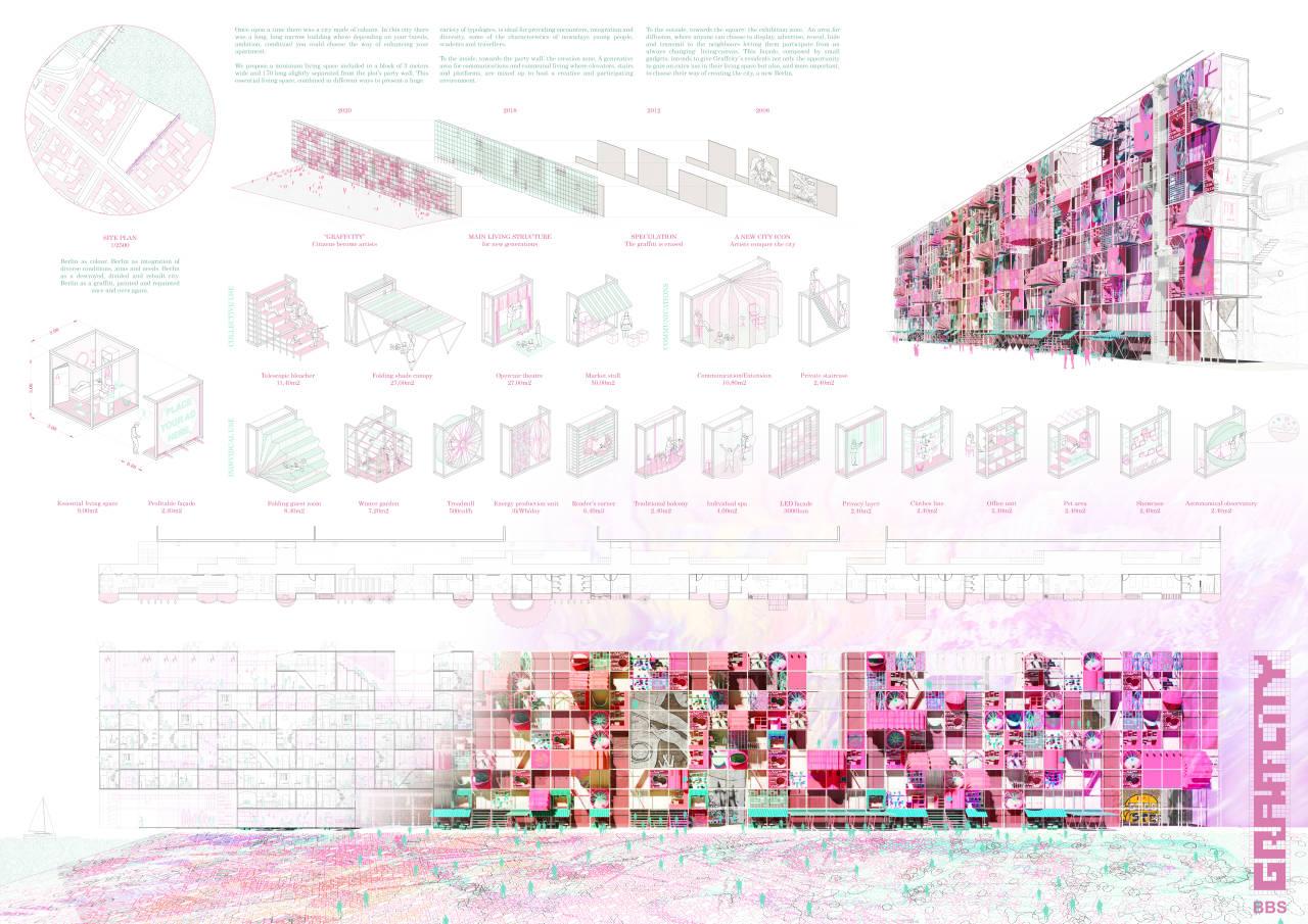 Ganador del Tercer Premio Concurso Berlín University Residences : Lámina © MÉLANGE