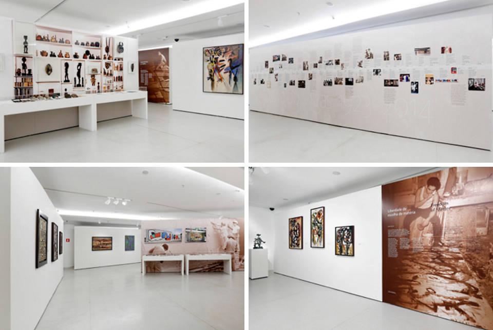 """Installation views of """"Oswaldo Vigas: Anthological 1943-2013,"""" curated by Belgica Rodriguez and Katja Weitering, exhibition design by Jowa Imre Kis-Jovak, Museu de Arte Contemporânea da Universidade de São Paulo"""