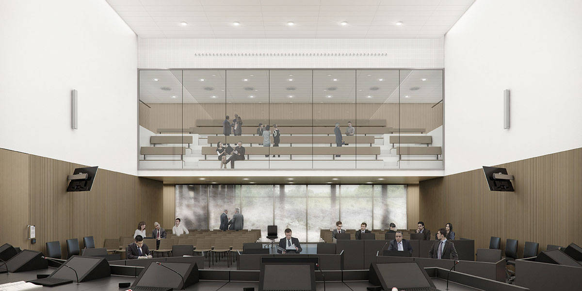 New Amsterdam Courthouse Central Courtroom by KAAN Architecten : Render © Beauty & The Bit and © KAAN Architecten