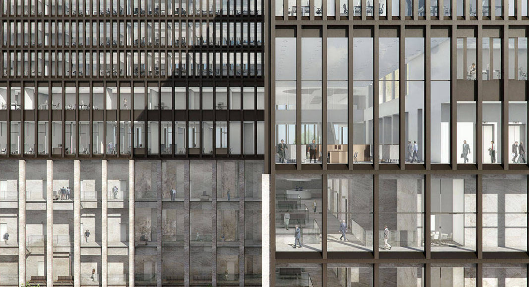 New Amsterdam Courthouse Exterior Facade by KAAN Architecten : Render © Beauty & The Bit and © KAAN Architecten