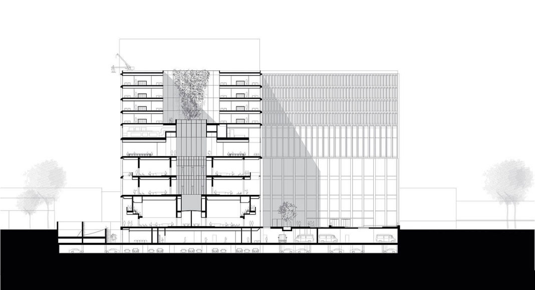 New Amsterdam Courthouse Section by KAAN Architecten : Drawing © KAAN Architecten