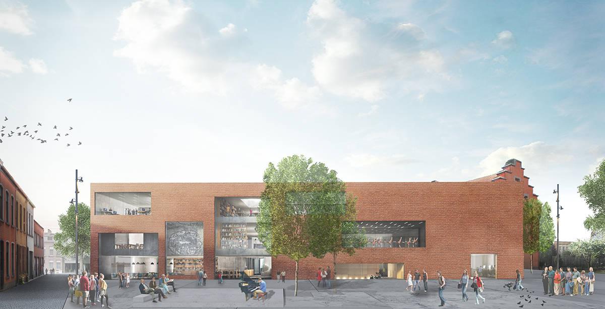 Vista Exterior de la Biblioteca Municipal de Aalst diseño de KAAN Architecten : Render ©EdiT - © KAAN Architecten