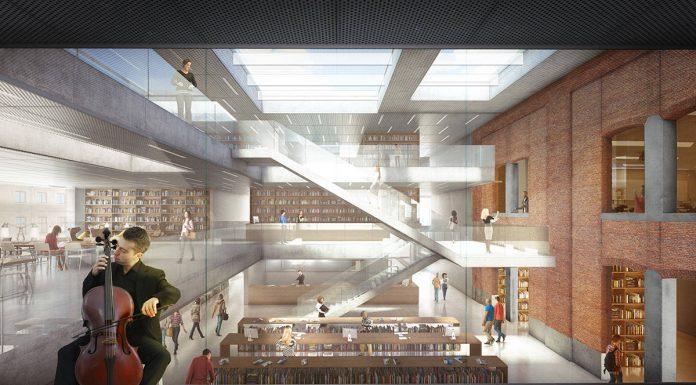 Espacios Interiores del Primer Nivel de la Biblioteca Municipal de Aalst diseño de KAAN Architecten : Render ©EdiT - © KAAN Architecten