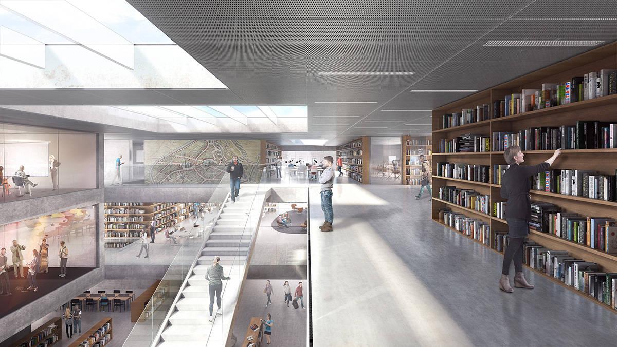Espacios Interiores de la Biblioteca Municipal de Aalst diseño de KAAN Architecten : Render ©EdiT - © KAAN Architecten