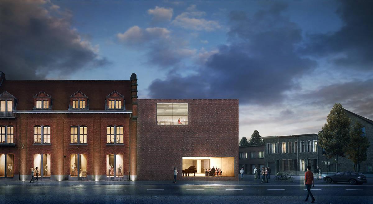 Vista Exterior de la Explanada Biblioteca Municipal de Aalst diseño de KAAN Architecten : Render ©EdiT - © KAAN Architecten