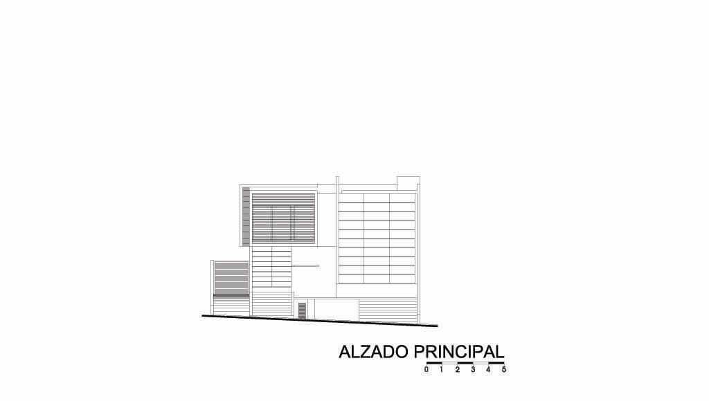 Casa HG Alzado Frontal diseñada por Agraz Arquitectos : Dibujo © Agraz Arquitectos