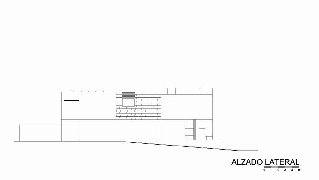 Casa HG Alzado Lateral diseñada por Agraz Arquitectos : Dibujo © Agraz Arquitectos