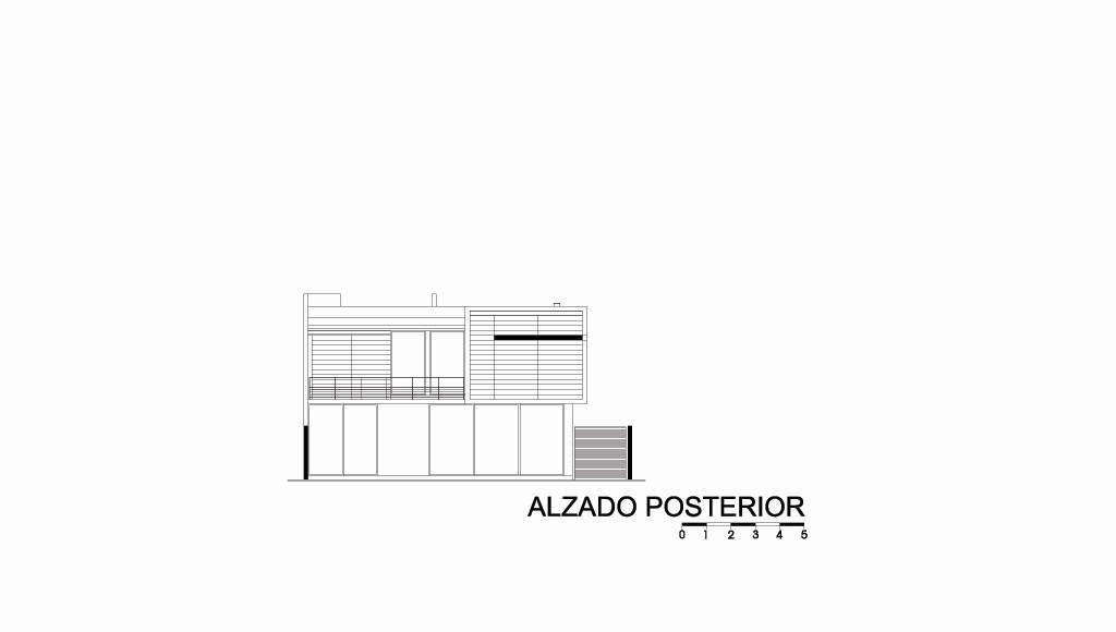 Casa HG Alzado Posterior diseñada por Agraz Arquitectos : Dibujo © Agraz Arquitectos