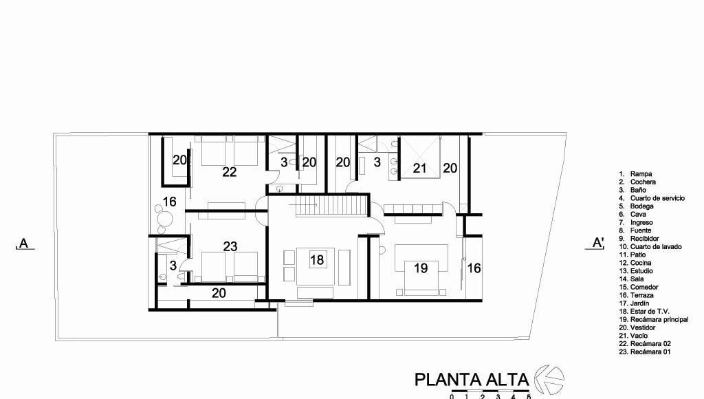 Casa HG Planta Alta diseñada por Agraz Arquitectos : Dibujo © Agraz Arquitectos