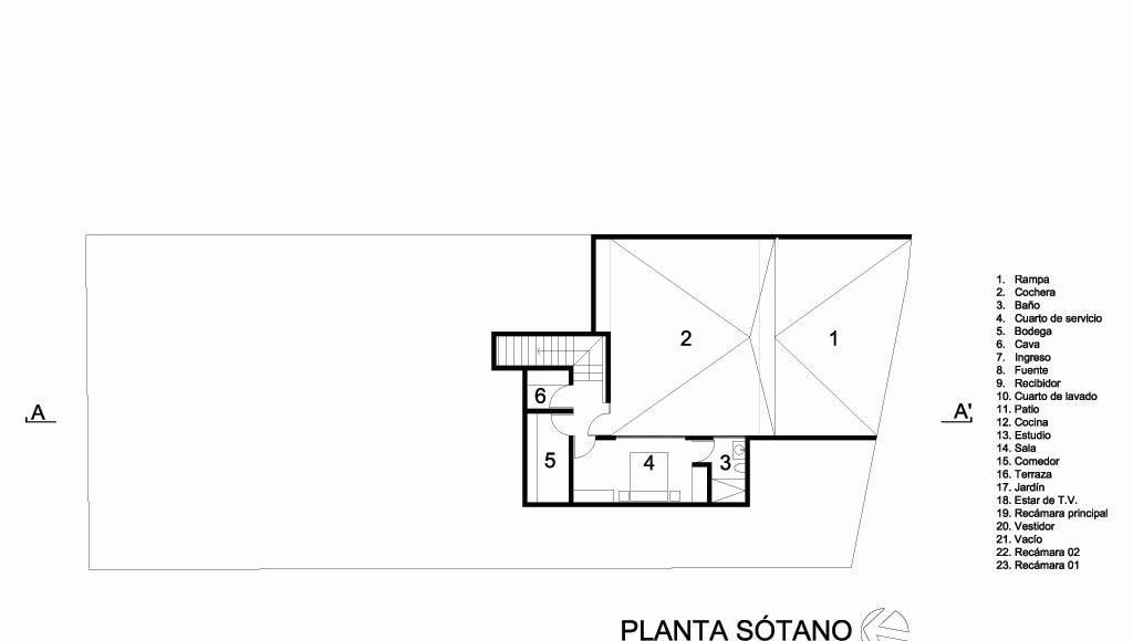 Casa HG Planta Sótano diseñada por Agraz Arquitectos : Dibujo © Agraz Arquitectos