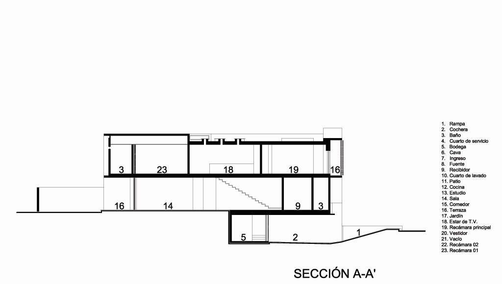 Casa HG Sección A - A' diseñada por Agraz Arquitectos : Dibujo © Agraz Arquitectos