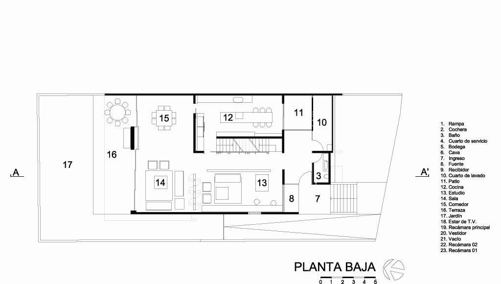 Casa HG Planta Baja diseñada por Agraz Arquitectos : Dibujo © Agraz Arquitectos