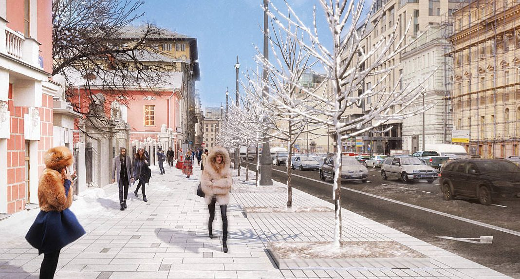 Diseño Finalista del Concurso para el Mejoramiento del Entorno Urbano de Tversakaya en Moscú : Render © DROM, © Barbara Materia, and © STUDIO MOST