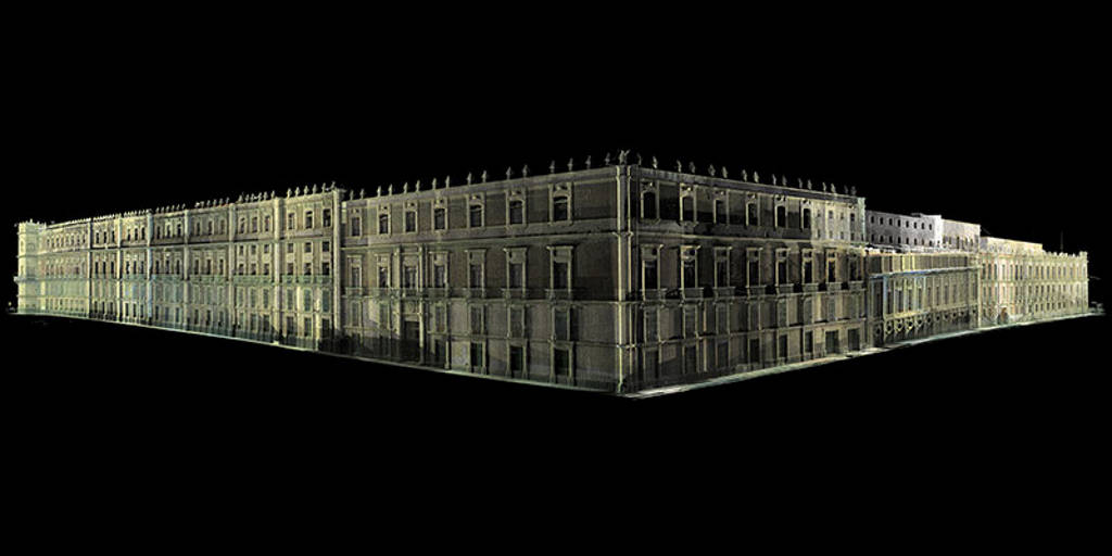 Imagen contextual en nube de puntos láser de la fachada de Palacio Nacional : Foto © CNMH-INAH