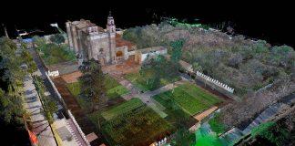 Imagen contextual en nube de puntos láser del Ex Convento de Tochimilco, Puebla : Foto © CNMH-INAH