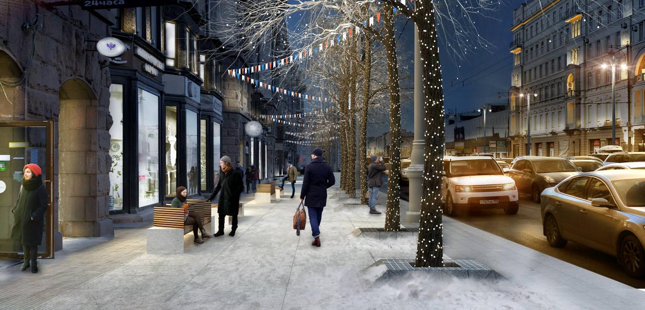 Diseño Ganador del Concurso para el Mejoramiento del Entorno Urbano de Tversakaya en Moscú : Render © PLAN B