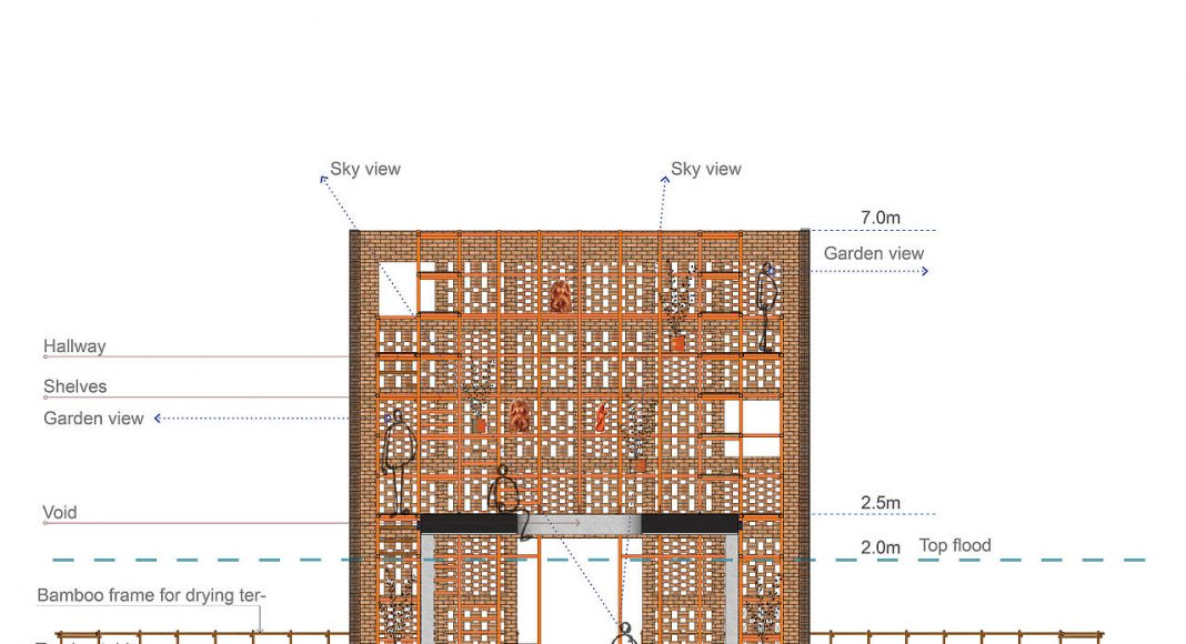 Terra Cotta Studio Section by Tropical Space : Drawing © TROPICAL SPACE