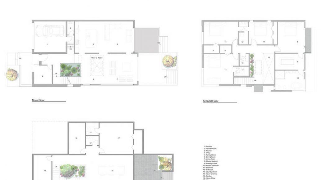 Garden Void House - Plantas. La vivienda está colocada en el ángulo correcto a un conjunto de desfases adecuados, en parte para evitar obstruir la vista del vecino. El área de la estancia orientada hacia el sur y su vista hacia el entorno natural es asegurada por un gran ventanal de 8 metros colocada en el lado sur de la edificación. El diseño de interiores sigue la alineación geométrica de la planta de conjunto, creando una variedad de espacios y vistas más allá de lo que podría sugerir una planta básica rectangular. La colocación de las recámaras (recámaras para niños con orientación norte y la recámara de los padres orientada hacia el sur) cumple con un aspecto del programa original que los clientes deseaban un espacios separado para ellos y los niños en el segundo nivel : Photo credit © Alva Roy Architects