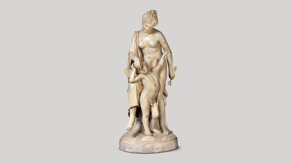 Una burla al amor (Venus y Cupido) (1877) Gabriel Guerra - Yeso 159.5 x 71 x 89 cm, Museo Nacional de Arte / INBA : Fotografía cortesía del © Museo Nacional de Arte