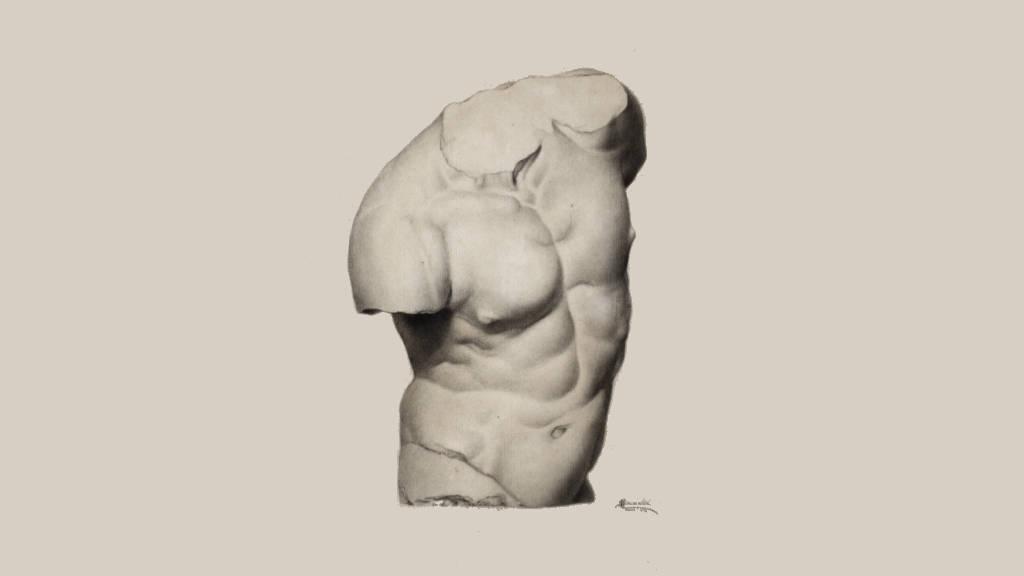 Torso (ca. 1982) Mateo Saldaña - Lápiz sobre papel 42 x 56 cm, Colección particular : Fotografía cortesía del © Museo Nacional de Arte
