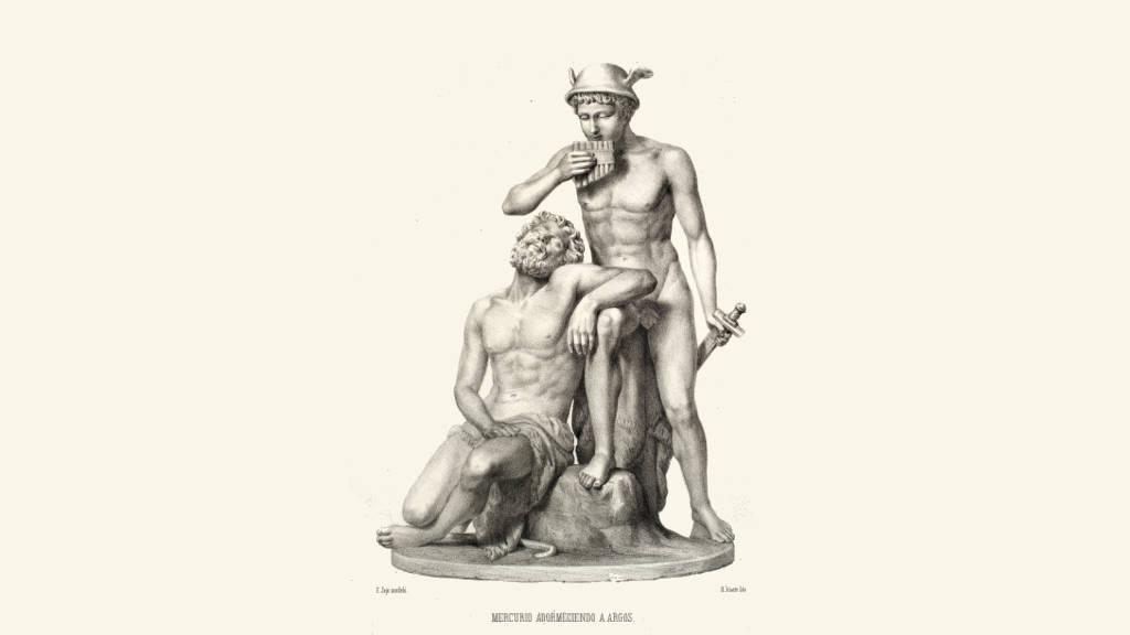 Mercurio y Argos (S.XIX) Hipólito Salazar, Litografía 26.7 x 19.5 cm, Museo Nacional de Arte / INBA Fondo Ricardo Pérez Escamilla : Fotografía cortesía del © Museo Nacional de Arte