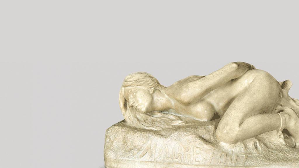 Malgré Tout (A pesar de todo) (1898) Jesús F. Contreras - Mármol 60 x 173 x 69 cm, Museo Nacional de Arte / INBA : Fotografía cortesía del © Museo Nacional de Arte