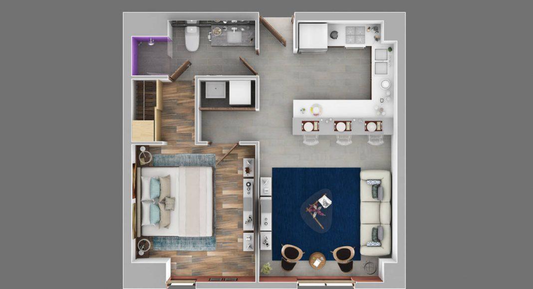 Departamento 1 Recámara - Cocina, Sala – Estancia, Recámara con Baño completo y Vestidor, Baño compartido para visitas, Área de lavado : Render cortesía de © Carza