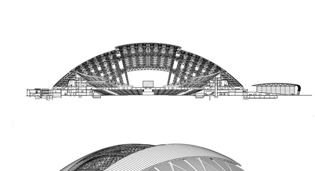 The dome structure provides shade and cooling when required and is left open when the stadium is not in use, keeping the grass pitch in healthy condition : Photo credit © Arup Associates