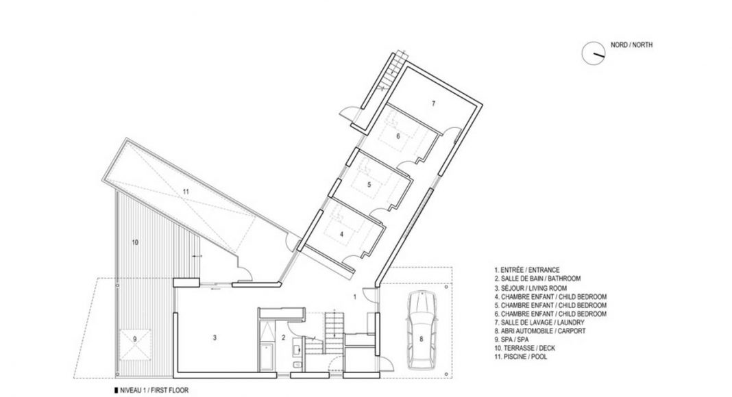 Altaïr House First Floor Plan : Drawing © Bourgeois / Lechasseur Architects