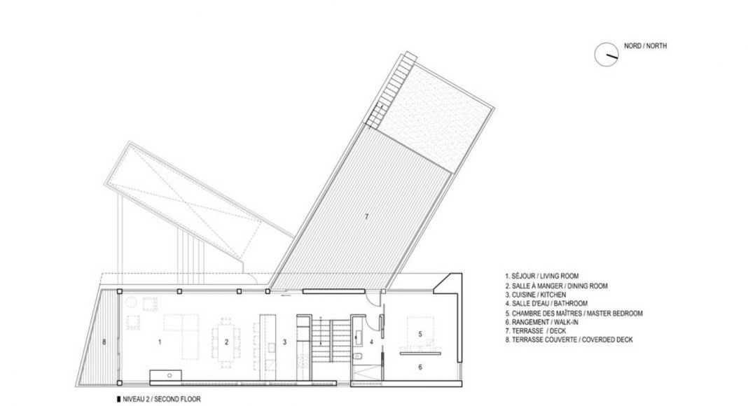Altaïr House Second Floor Plan : Drawing © Bourgeois / Lechasseur Architects