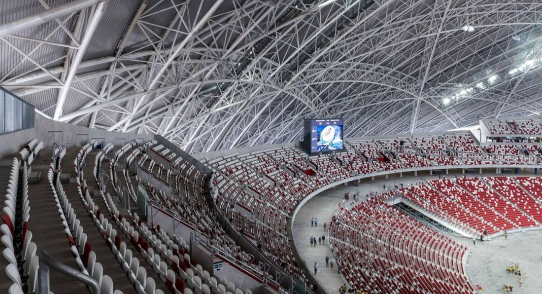 The Stadium incorporates a moving tier of seats that can be pulled forward when the athletics track is not in use. This improves proximity to the pitch and thus enhances spectator experience and atmosphere : Photo credit © Christian Richters