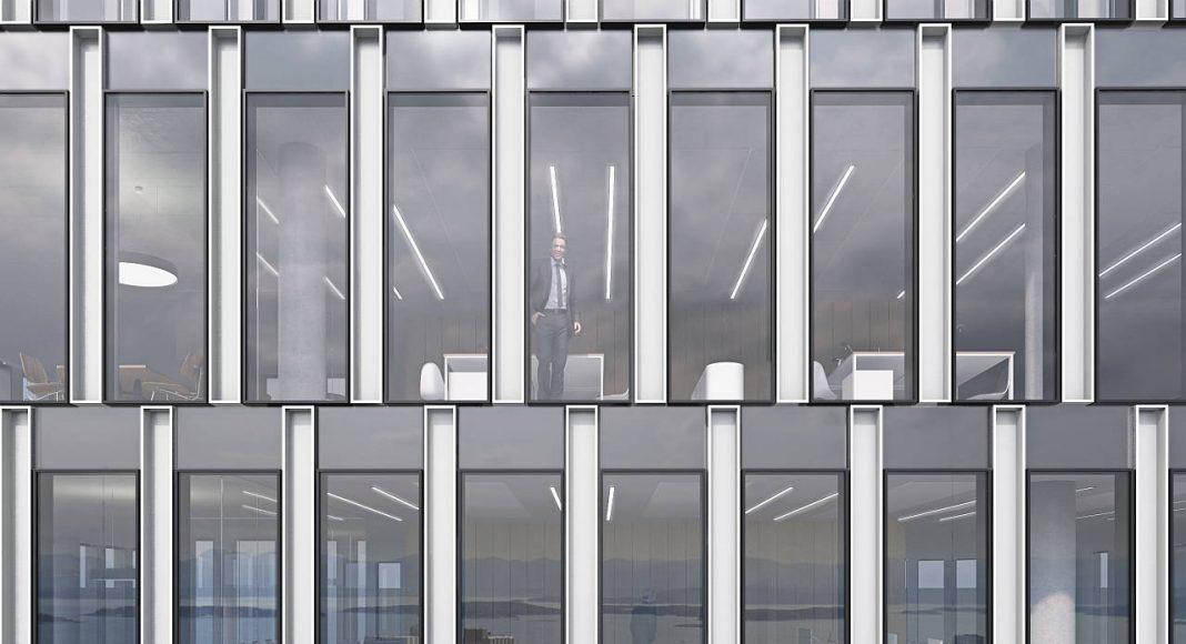 Breiavatnet Lanterna Close Up Facade en Stavanger, Noruega by Schmidt Hammer Lassen Architects : Render © Schmidt Hammer Lassen Architects
