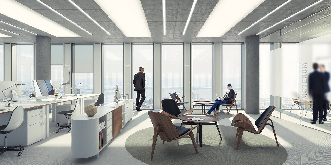 Breiavatnet Lanterna Office en Stavanger, Noruega by Schmidt Hammer Lassen Architects : Render © Schmidt Hammer Lassen Architects