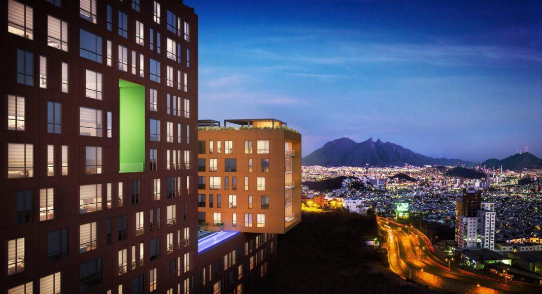 Vista Panorámica desde el Edificio JADE hacia la Ciudad de Monterrey del Proyecto CANTERA : Render cortesía de © Carza