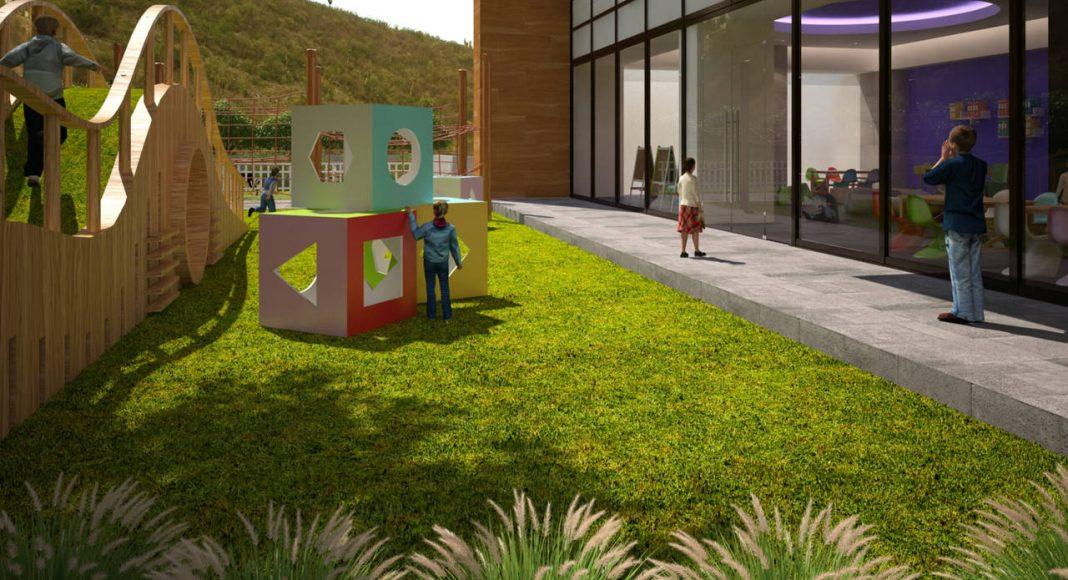 Vista de los Jardines con juegos infantiles Nivel 1 del Proyecto CANTERA : Render cortesía de © Carza