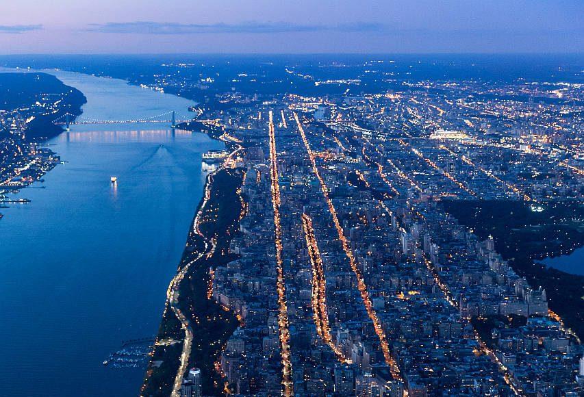 VIΛ 57 West Aerial View by Night by BIG – Bjarke Ingels Group : Photo credit © Iwan Baan