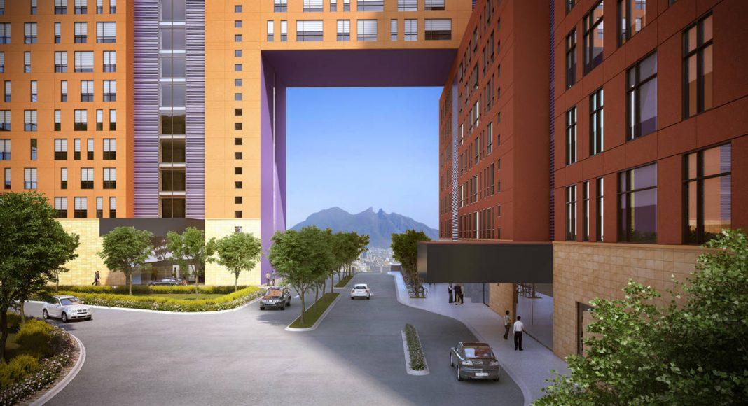 Vista del Acceso Monumental del Edificio JADE del Proyecto CANTERA : Render cortesía de © Carza