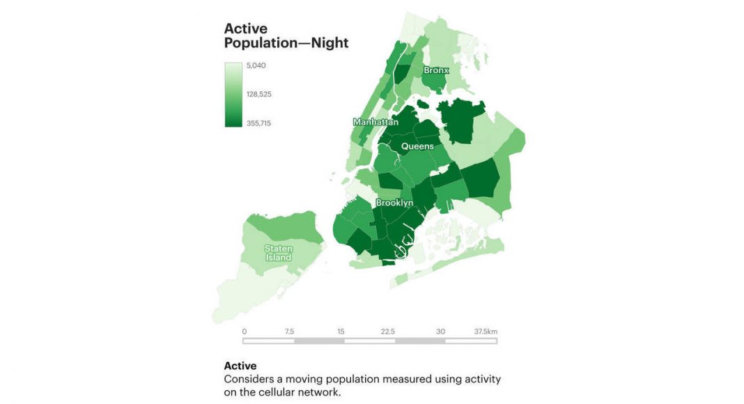 Active Population Night : Infographic © Senseable City Laboratory :: MIT