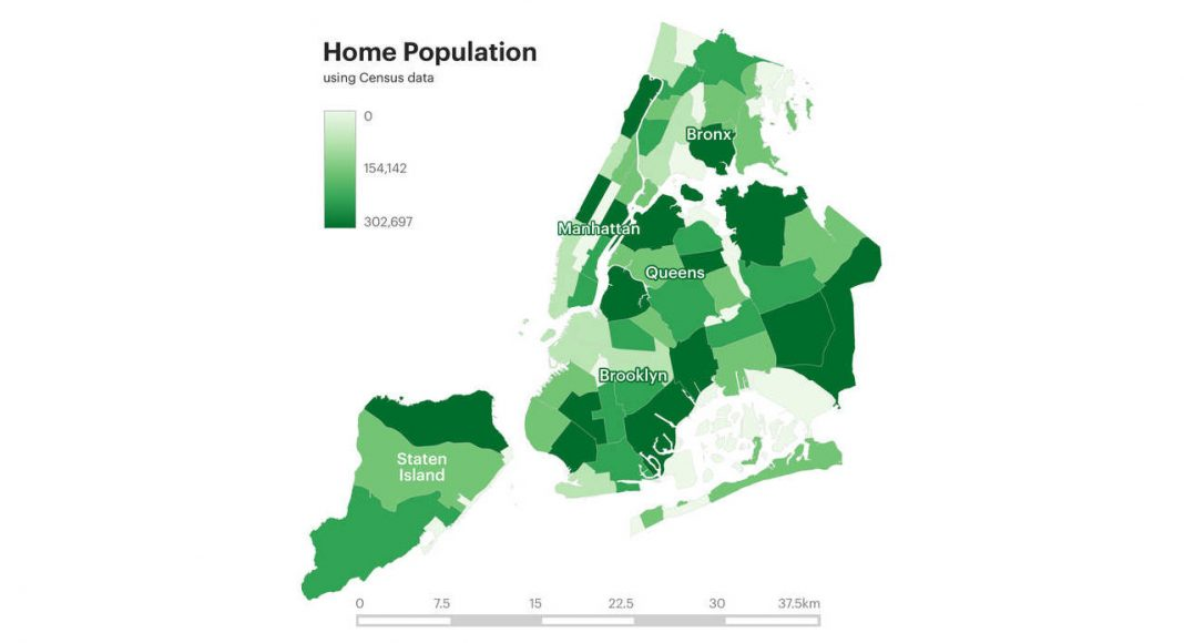 Home Population Using Census Data : Infographic © Senseable City Laboratory :: MIT