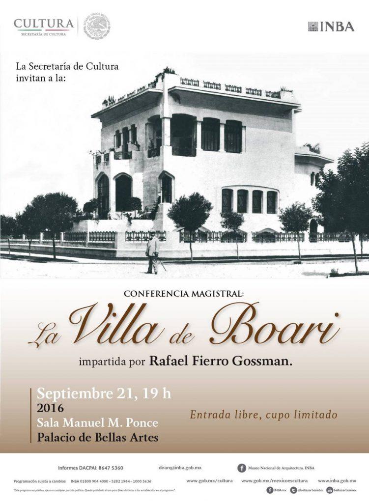 """Conferencia Magistral de Arquitectura """"La Villa de Boari"""" : Cartel © DACPAI/INBA"""