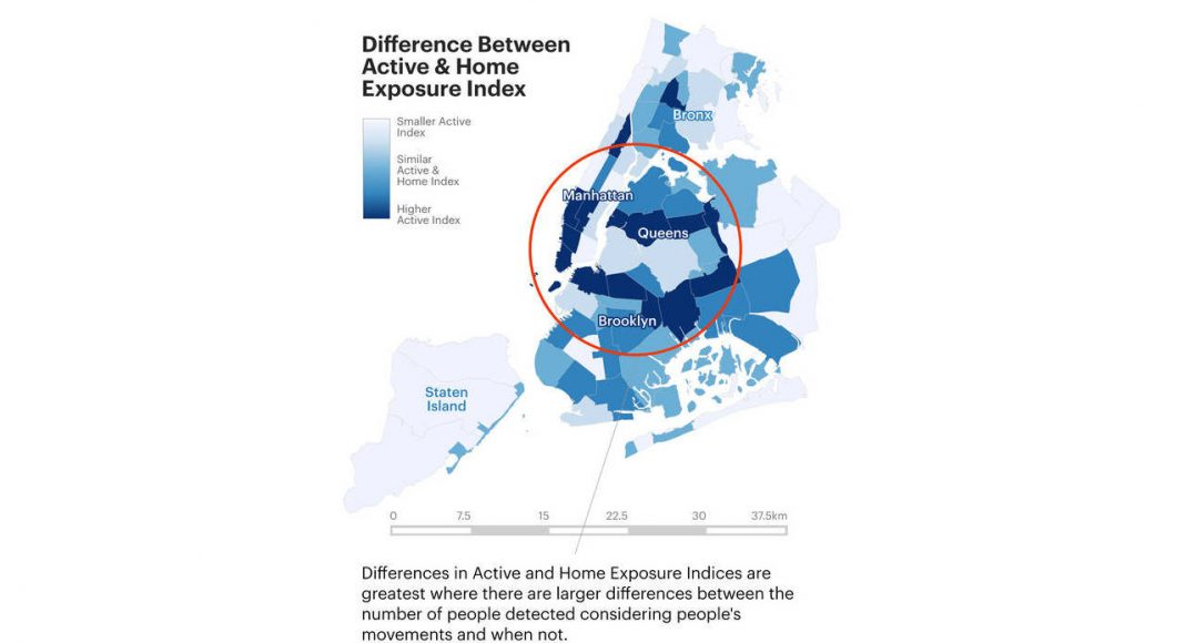 Difference Between Active & Home Exposure Index : Infographic © Senseable City Laboratory :: MIT