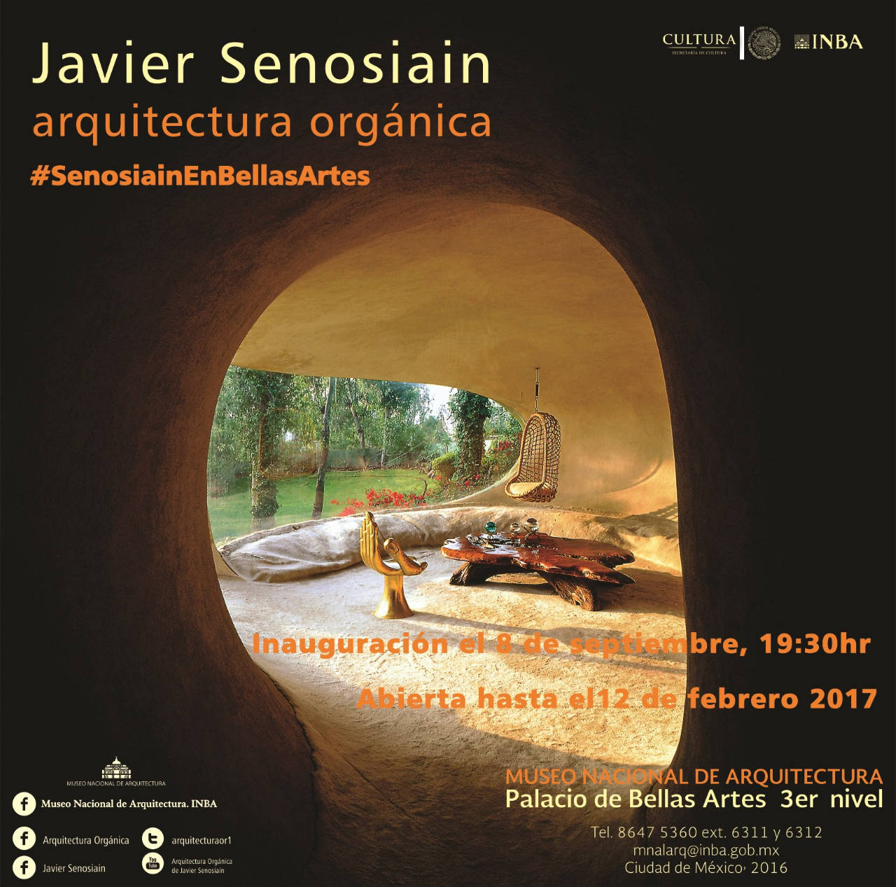 La Arquitectura Orgánica de Senosiain : Poster © Arquitecto Javier Senosiain, cortesía del © INBA