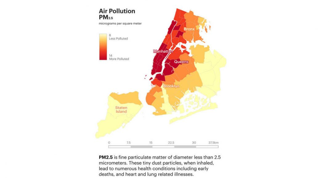 Air Pollution PM2.5 / Micrograms per square meter : Infographic © Senseable City Laboratory :: MIT