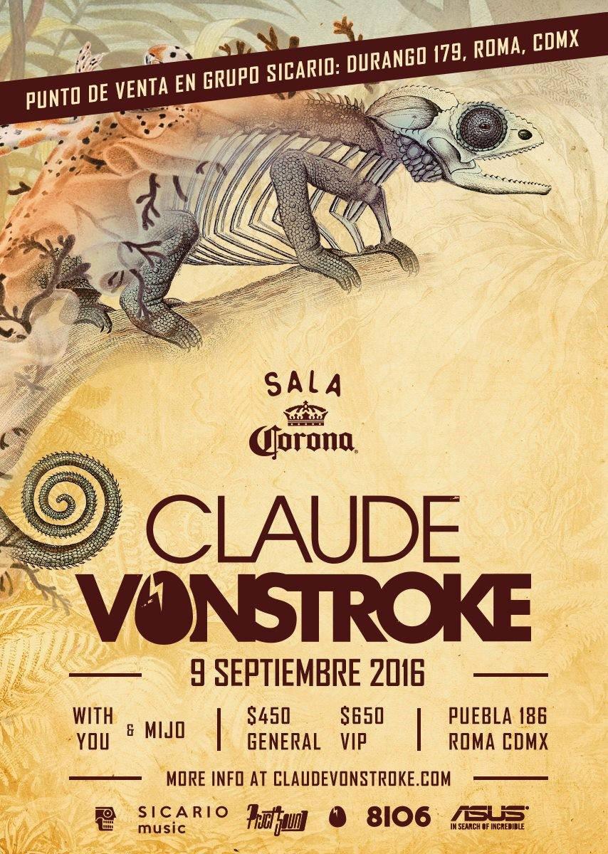 Claude VonStroke se presenta en México en la SALA CORONA : Poster cortesía de © Sicario Music