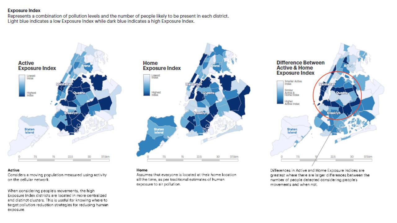 Urban Exposure Index by Senseable City Laboratory : Infographic © Senseable City Laboratory :: MIT