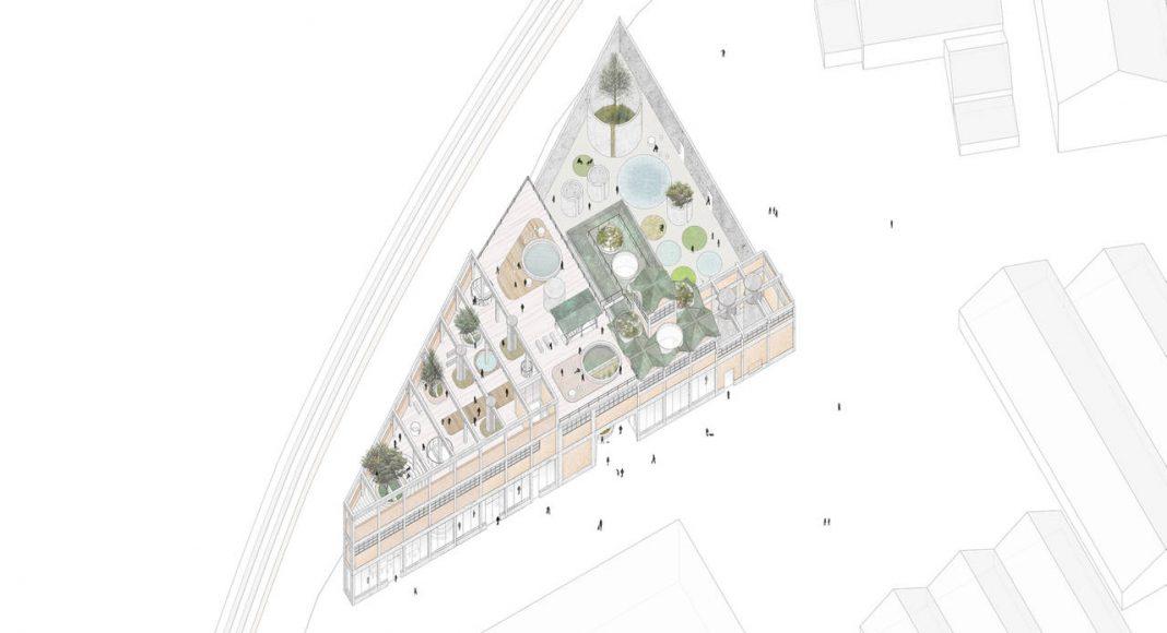 Proyecto con MENCIÓN GOLD del Concurso Green Academy - Equipo jeongchoi : Miembros DAEGEON JEONG, Sylvia Soohee Choi : Render cortesía de © YAC