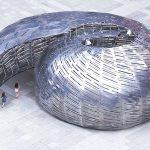 Vista Aérea del NASA Orbit Pavilion diseñado por StudioKCA en el Festival World Science Festival en la Ciudad de Nueva York : Photo © Chuck Choi