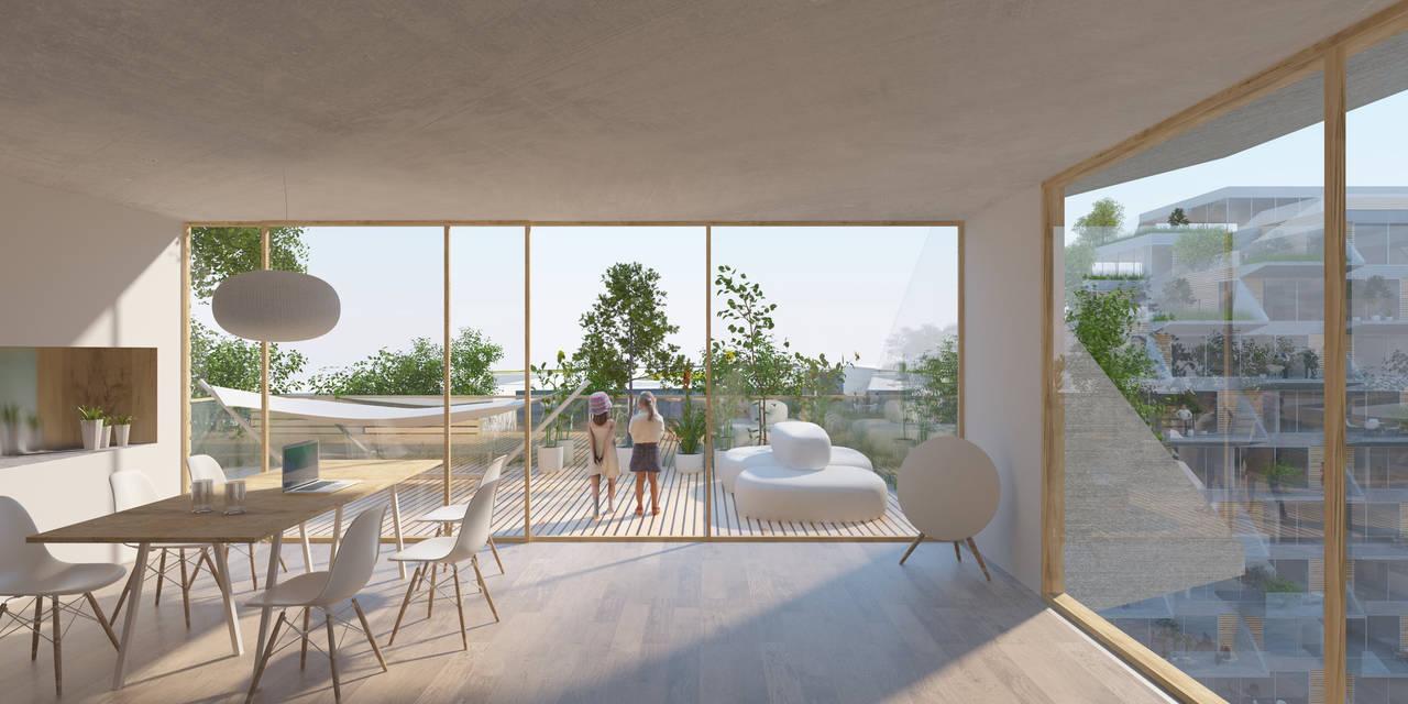 Sluishuis Apartmento en Amsterdam por BIG y BARCODE Architects : Render © BIG